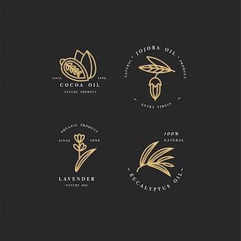 Conjunto de logotipos de aceites de belleza y cosmética