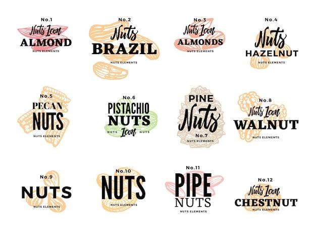 Conjunto de logotipos de alimentos orgánicos
