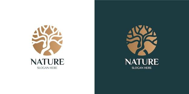 Conjunto de logotipos de árboles modernos y minimalistas.