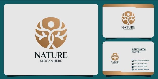 Conjunto de logotipos de árboles y tarjetas de visita.
