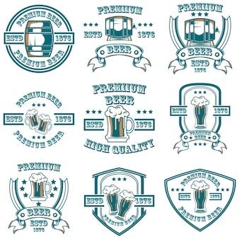 Conjunto de logotipos de artículos de cerveza
