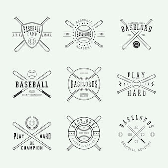 Conjunto de logotipos de béisbol vintage