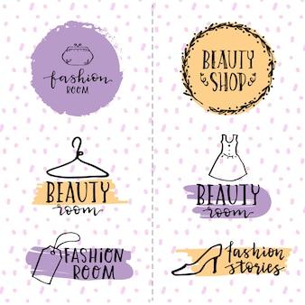Conjunto de logotipos de belleza dibujados a mano