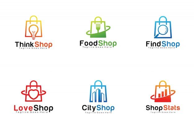 Conjunto de logotipos de bolsas de compras