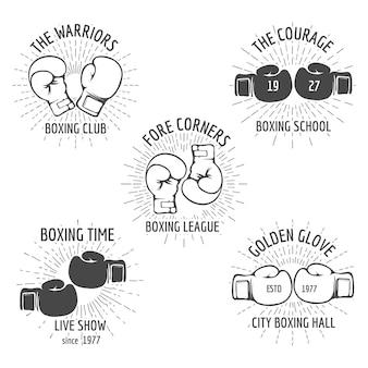 Conjunto de logotipos de boxeo vintage