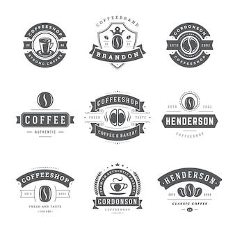 Conjunto de logotipos de cafetería vintage