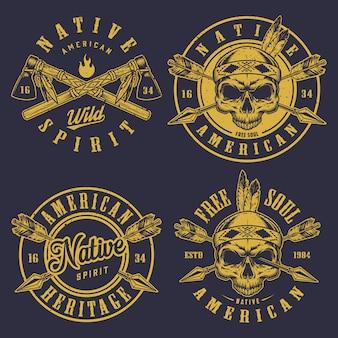 Conjunto de logotipos de calaveras