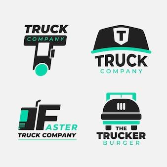 Conjunto de logotipos de camiones de diseño plano