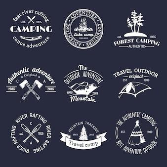 Conjunto de logotipos de camping vintage