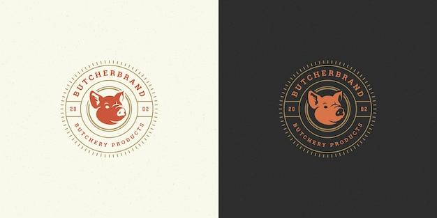Conjunto de logotipos de carnicería o restaurante