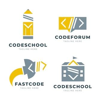 Conjunto de logotipos de código plano