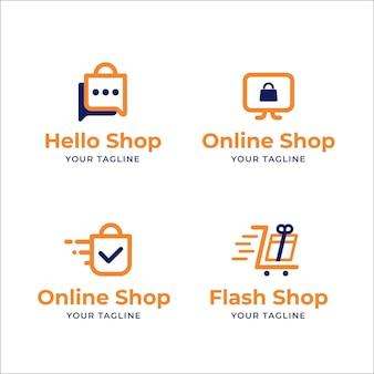 Conjunto de logotipos de comercio electrónico de diseño plano.