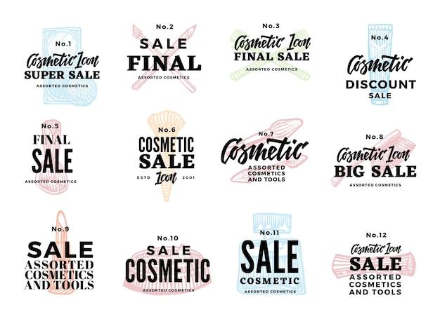 Conjunto de logotipos cosméticos de bosquejo