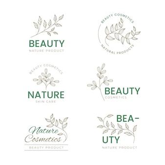 Conjunto de logotipos de cosméticos de naturaleza