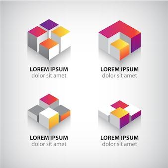 Conjunto de logotipos de cubos geométricos coloridos abstractos