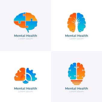 Conjunto de logotipos degradados de salud mental