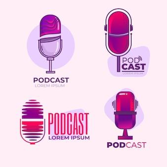 Conjunto de logotipos detallados de podcast