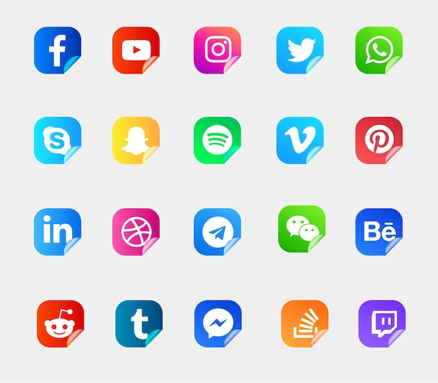 Conjunto de logotipos e iconos de redes sociales modernas