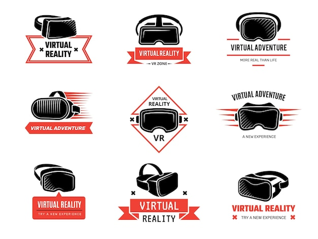 Conjunto de logotipos e insignias de casco vr