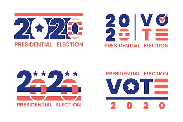 Conjunto de logotipos de elecciones presidenciales de 2020 en estados unidos