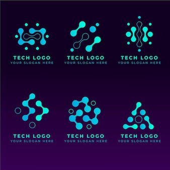 Conjunto de logotipos de electrónica plana