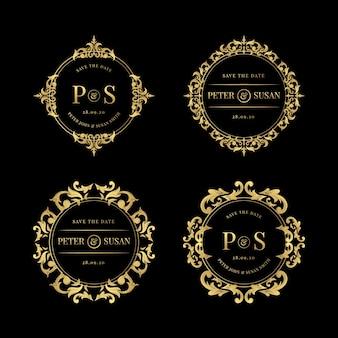 Conjunto de logotipos elegantes de boda