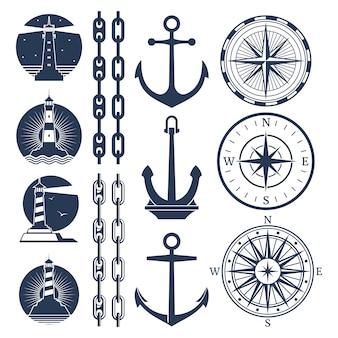 Conjunto de logotipos y elementos náuticos - faros de brújula cadenas de ancla