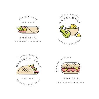 Conjunto de logotipos y emblemas de plantillas de diseño - comida mexicana. comida tradicional nacional mexicana. logotipos en moda estilo lineal aislado sobre fondo blanco.