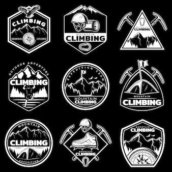 Conjunto de logotipos de escalada de montaña blanca vintage