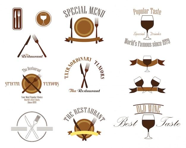 Conjunto de logotipos de etiqueta de restaurante