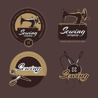 Conjunto de logotipos, etiquetas e insignias de costura y confección retro.