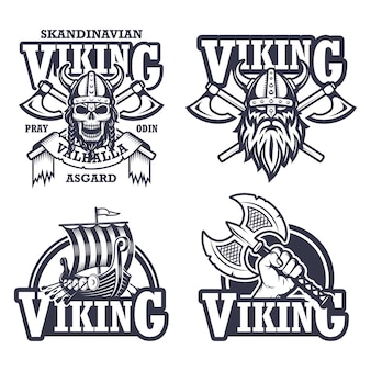 Conjunto de logotipos, etiquetas y emblemas vikingos. estilo monocromático