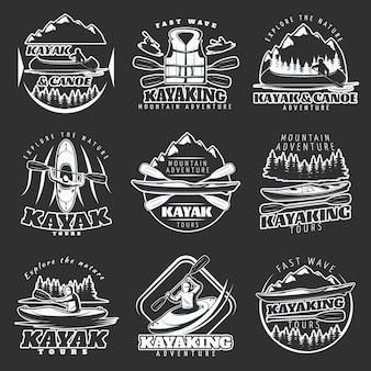 Conjunto de logotipos de excursiones en kayak