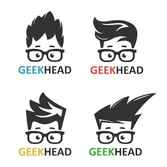 Conjunto de logotipos geeks y nerds