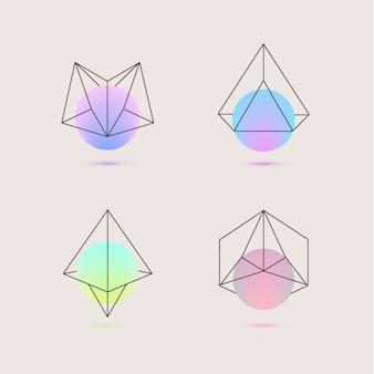 Conjunto de logotipos geométricos holográficos