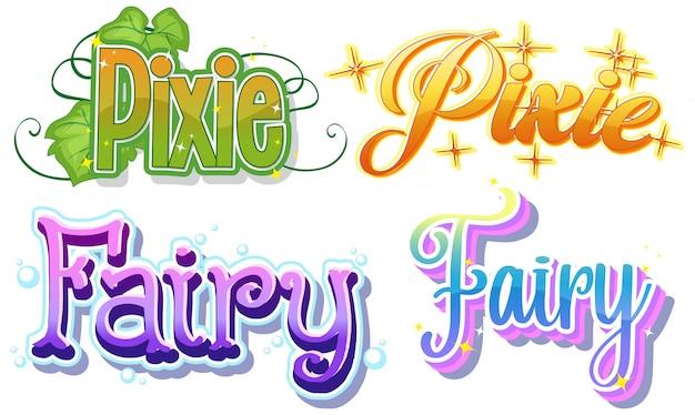 Conjunto de logotipos de hadas y duendes sobre fondo blanco.