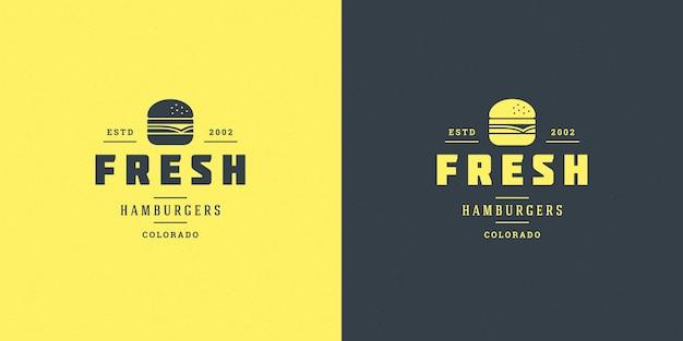 Conjunto de logotipos de hamburguesas o restaurantes