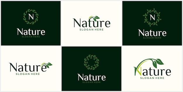 Conjunto de logotipos de hojas orgánicas con diseño de logotipo de concepto de vector de ciclo giratorio de hoja de lujo
