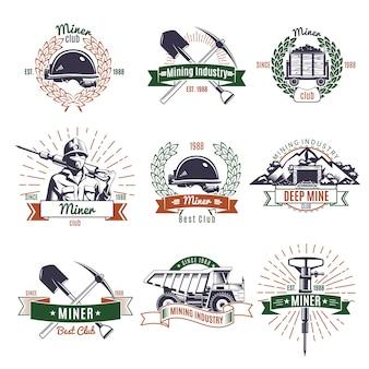Conjunto de logotipos de la industria minera