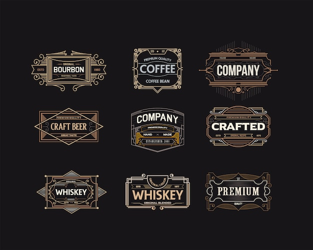 Conjunto de logotipos de insignias decorativas elegantes
