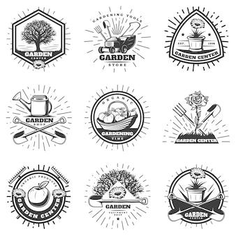 Conjunto de logotipos de jardinería monocromo vintage