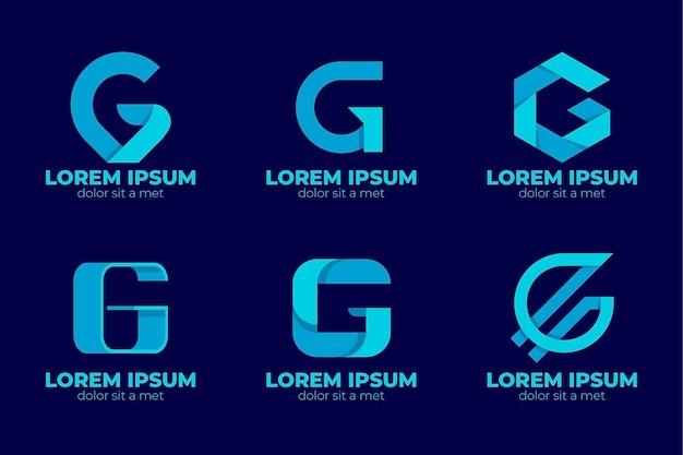 Conjunto de logotipos de letra g de diseño plano