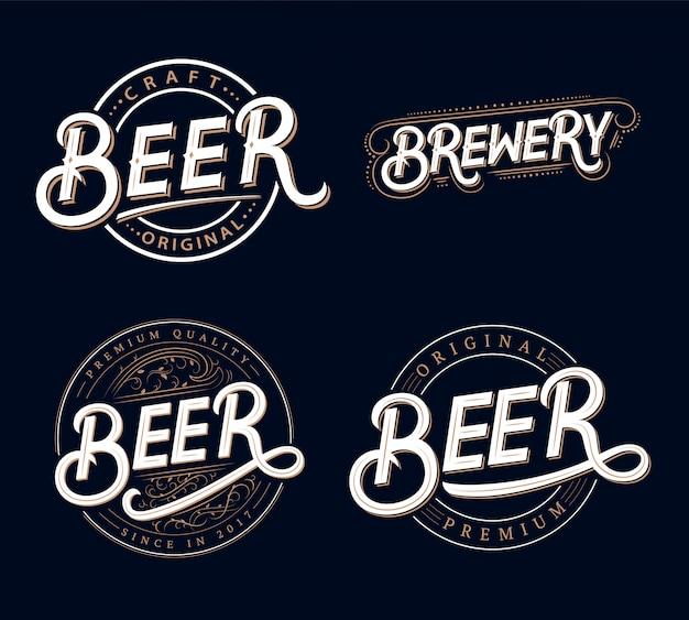 Conjunto de logotipos de letras escritas a mano de cerveza y cervecería