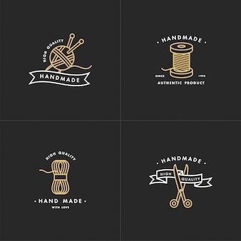 Conjunto de logotipos de línea colorida hecha a mano.