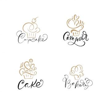 Conjunto de logotipos lineales de cupcake