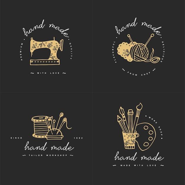 Conjunto de logotipos de líneas coloridas hechas a mano.