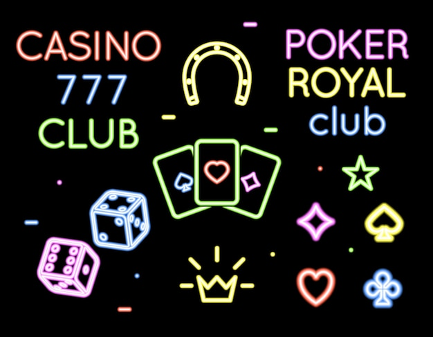 Conjunto de logotipos de luz de neón del club de póquer y casino. apuestas y cartas, juego y juego