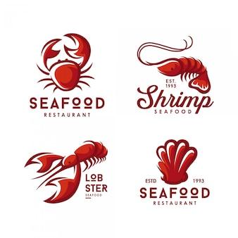 Conjunto de logotipos de mariscos