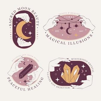 Conjunto de logotipos místicos de arte lineal