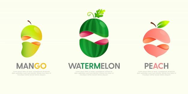 Conjunto de logotipos modernos con frutas decorativas.